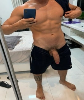 Big cock out of shorts
