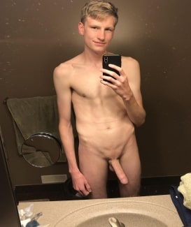 Boy with a big shaved cock