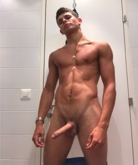 Nude boy with a big uncut cock